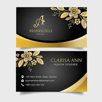 Golden floral business card template