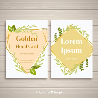 Golden floral cards collection