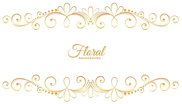 Golden floral decoration on white background