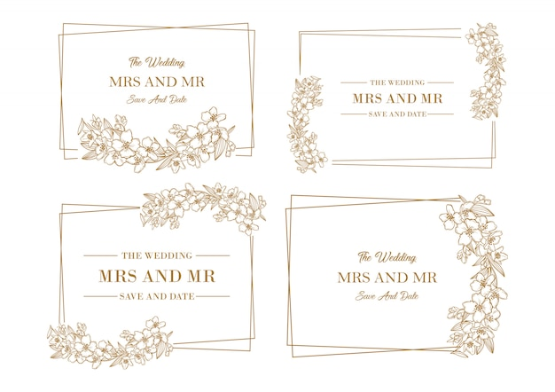 Golden floral frame template collection