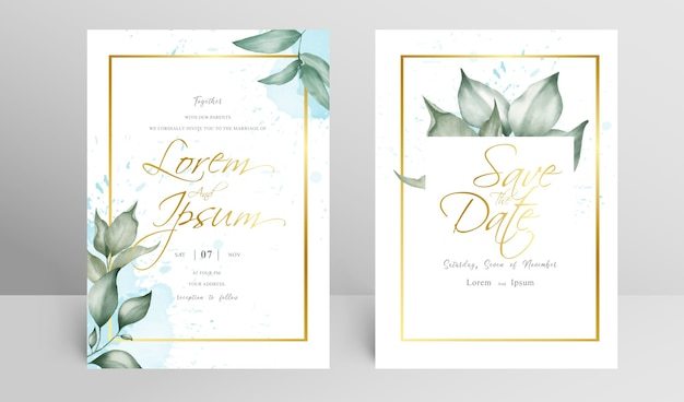 Golden floral frame wedding invitation set