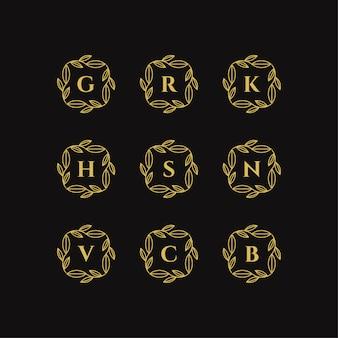 Golden floral frame with letter logo template vector illustration