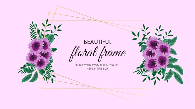 Golden floral frame of yellow flowers in detailed style for social media sales ads promotions