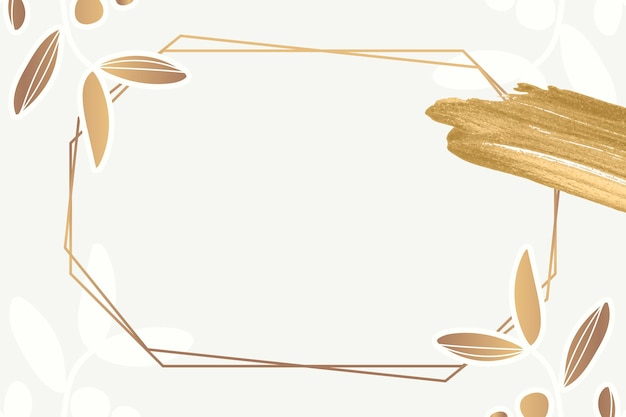 ゴールドの花柄六角形フレーム