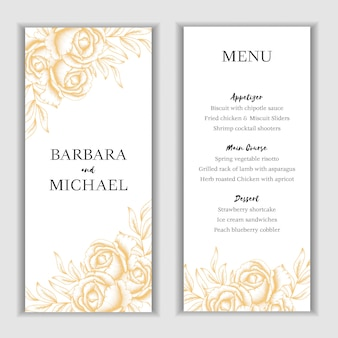 Golden floral menu card template