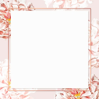 Golden floral peony frame social ads template vector
