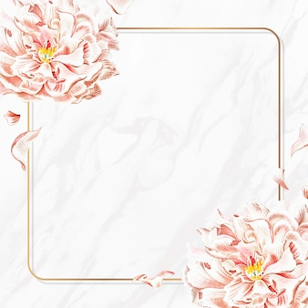 Golden floral peony frame social ads template