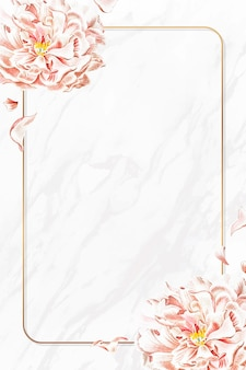Golden floral peony frame vector