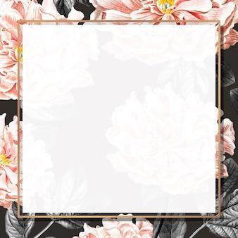 Золотая цветочная рамка с пионами