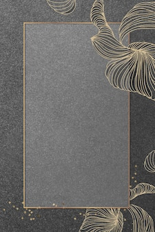 황금 꽃 사각형 프레임