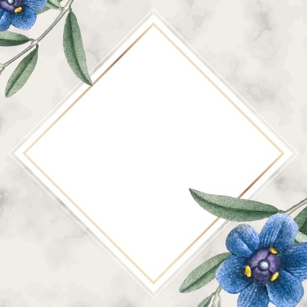 Golden floral rhombus frame
