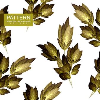 Golden floral seamless pattern