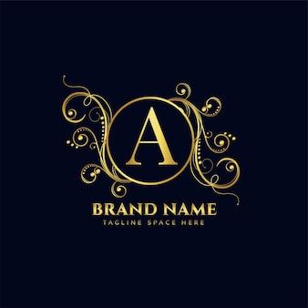 ゴールデンフローラルスタイルの豪華なロゴのコンセプトデザイン