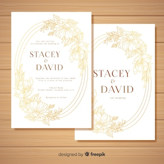 Golden floral wedding card template