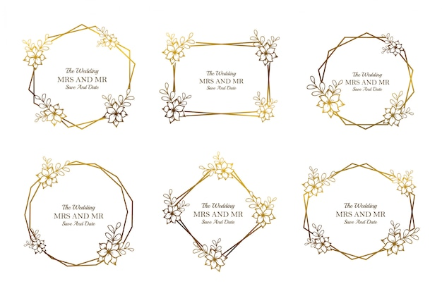Golden floral wedding frame template collection