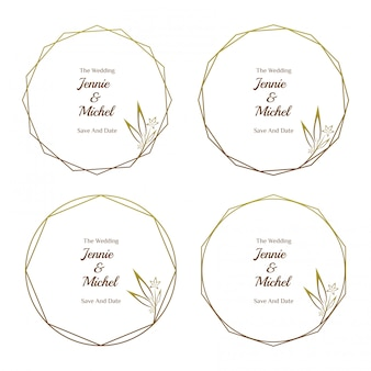 Golden floral wedding  invitation minimalist template collection