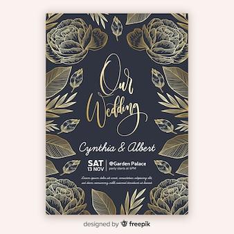 Golden floral wedding invitation template