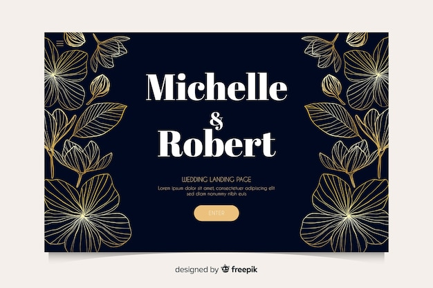 Golden floral wedding landing page