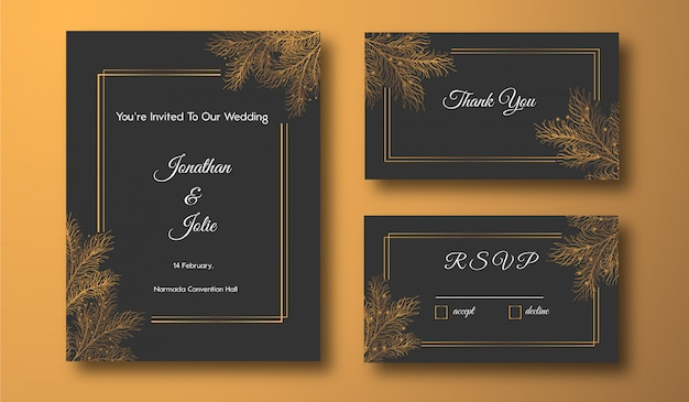 Golden floral wedding stationery template