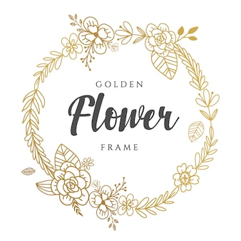Golden floral wreath design