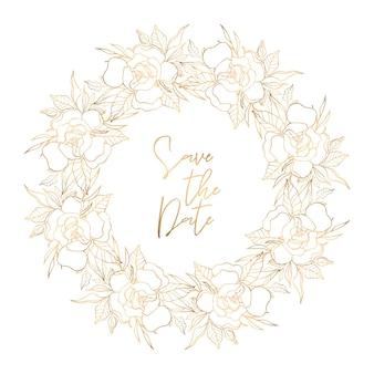 Золотой цветочный венок с местом для текста