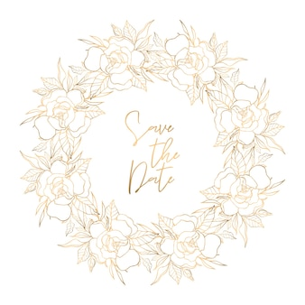 Golden floral wreath with place for text