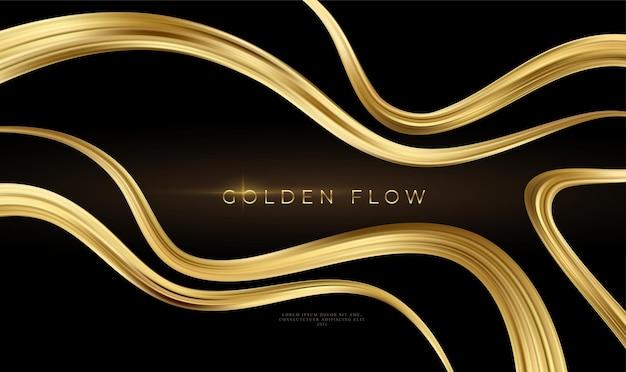 Golden flow on black background