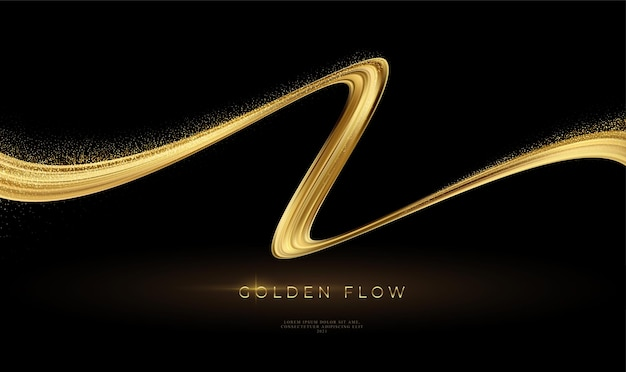 Золотой поток на черном фоне