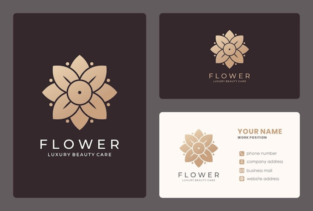Golden flower, beauty care, cosmetis, salon logo design with business card template.