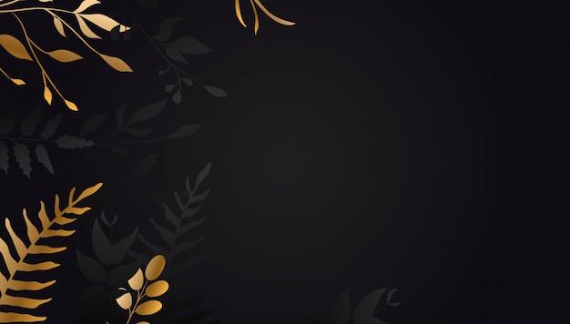 Golden flower on black background