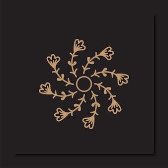 黄金の花のロゴのデザインテンプレート