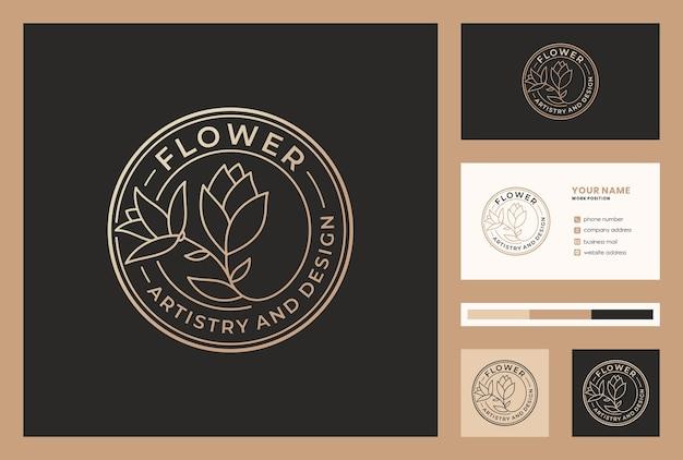 Золотой цветочный дизайн логотипа с шаблоном визитной карточки.
