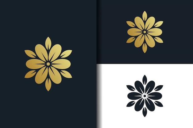 황금 꽃 로고 디자인