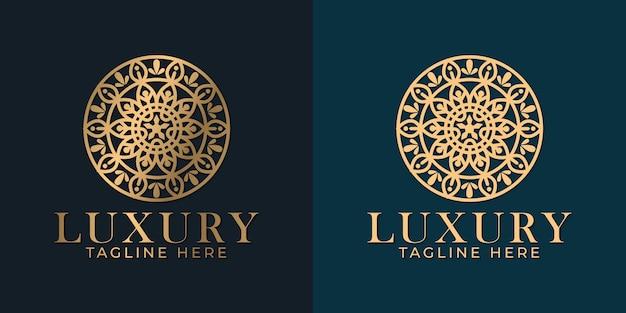 ゴールデンフラワー曼荼羅飾りロゴデザインテンプレート