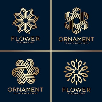 Golden flower and ornament logo collection, line art, gold, beauty, decoration, icon