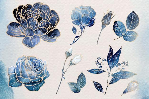 Set di ornamenti floreali dorati