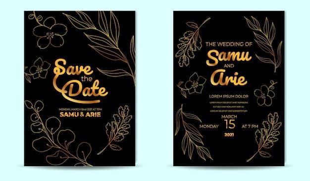 Golden flower wedding invitation