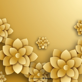 Golden flowers background flat style