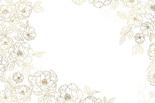 Golden flowers background hand drawn