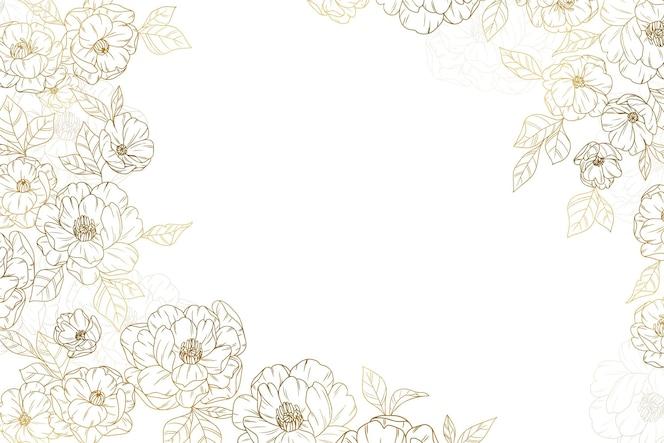 黄金の花の背景手描き