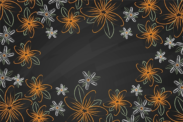 Golden flowers on blackboard background