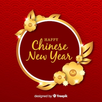 Golden flowers chinese new year background