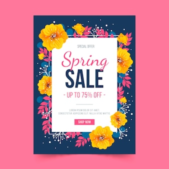 Golden flowers and spring flyer template