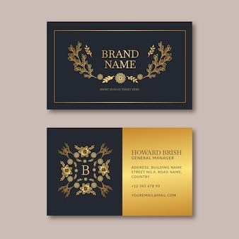 Golden flowers template business card