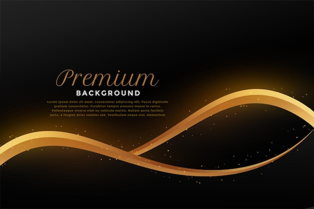 Golden flowing wave on black background