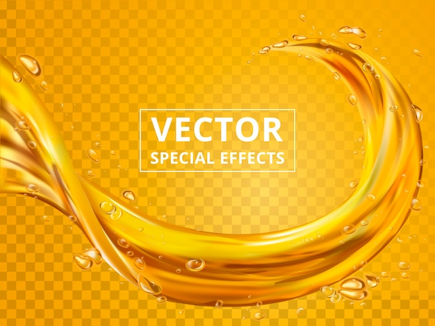 Golden fluid elements that can be used in beverages, transparent background