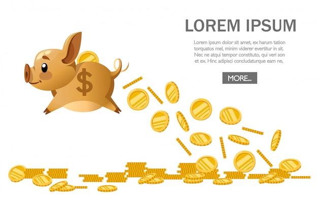 黄金の飛行貯金箱は、黄金のコインをドロップします。お金の雨。お金の概念、銀行経済を保存します。白い背景のイラスト。ウェブサイトページとモバイルアプリ