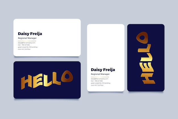 Golden foil business card template collection