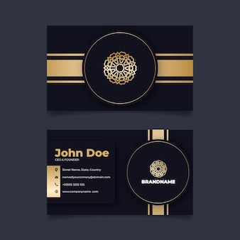 Golden foil business card template with flower