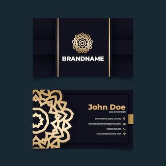 Шаблон визитки из золотой фольги